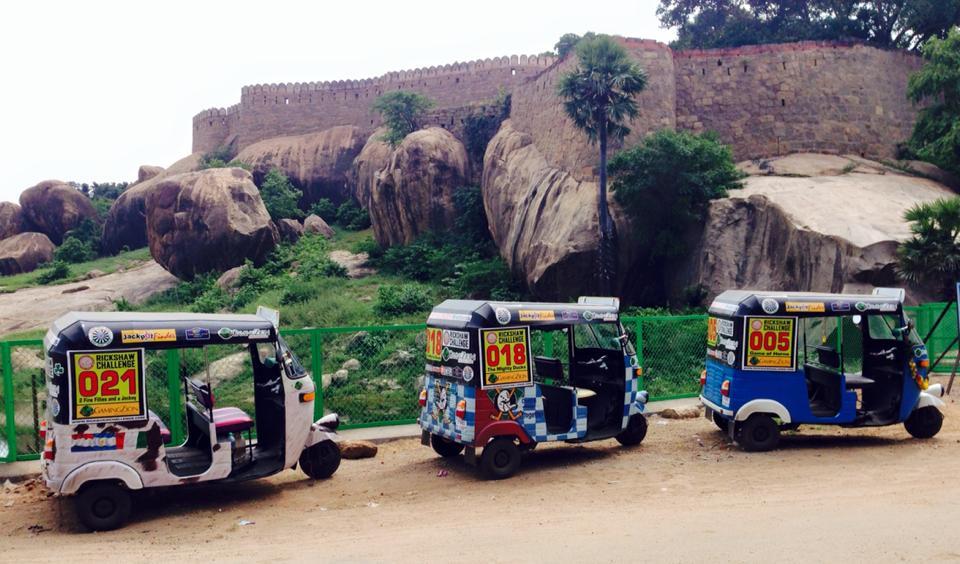 Rickshaws parked at the Tirumayam Fort - photo by Mandy Ramsden from Hakuna Matatu