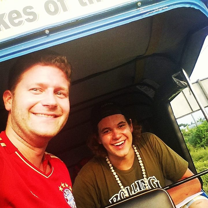 """A Rickshaw without a windshield is a good selfie opportunity!"" - photo by Martin Schmidmaier from the Bavarian Barbarians."